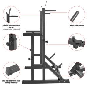 dip stand bench press squat rack