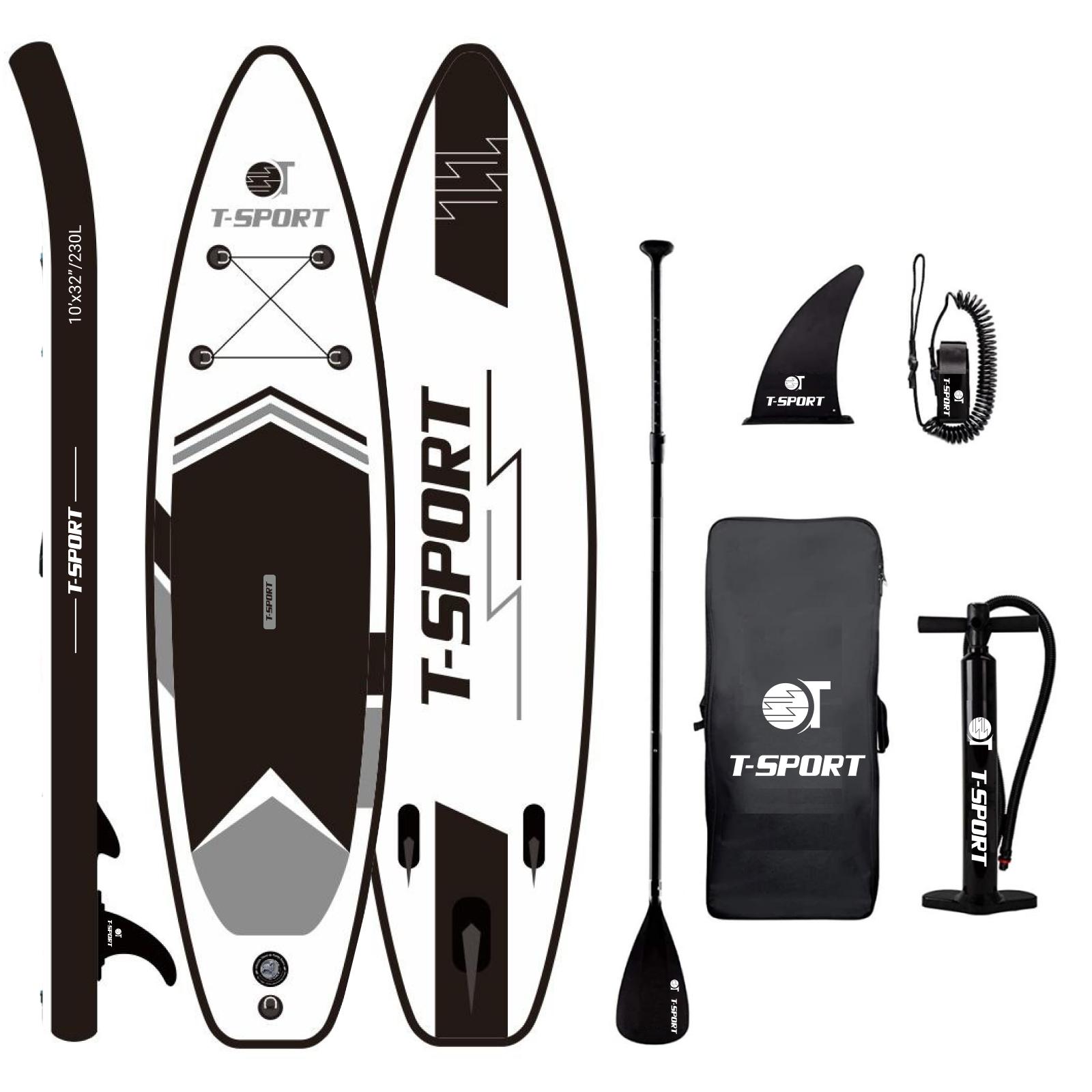 t-sport paddle board black